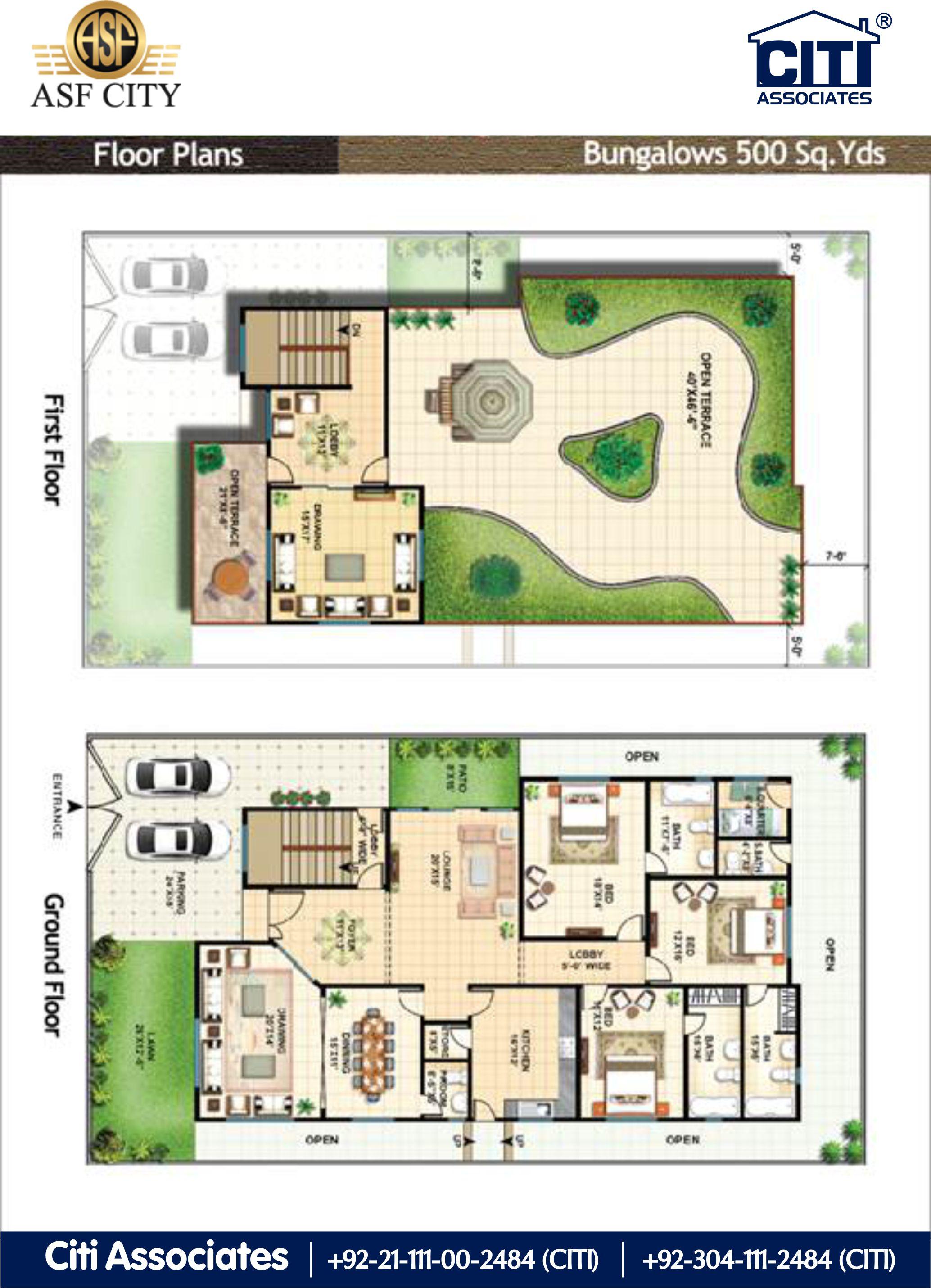 Asf City Karachi 500 Sqyds Bungalow Floor Plan Asf City