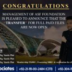 File Transfer is now OPEN | ASF City Karachi